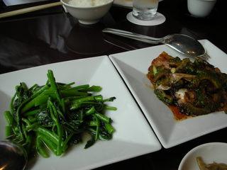 空芯菜・ニガ瓜と豚の炒め物