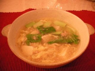 鶏ミンチ青梗菜スープ