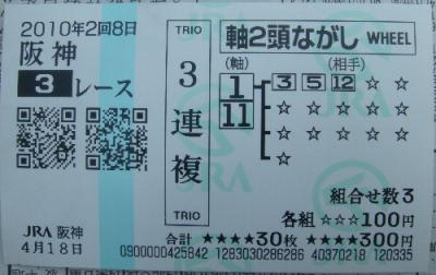 阪神3R 障害未勝利 三連複ゲット 900円的中