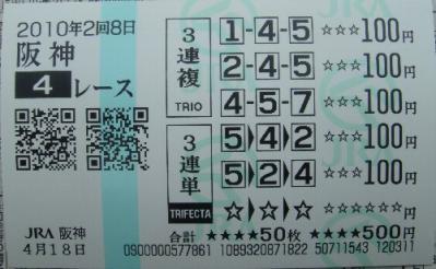 阪神4R 3歳未勝利 三連複&三連単ダブルゲット
