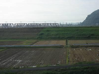 車窓より京阪木津川鉄橋を望む
