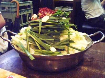 山盛りのもつ鍋