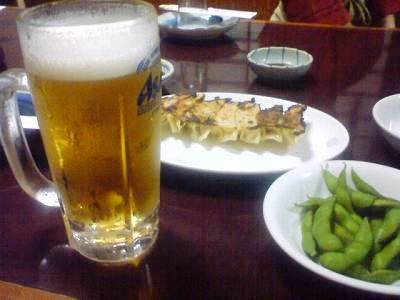 生と枝豆と餃子