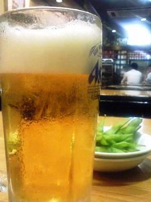 生ビールと枝豆