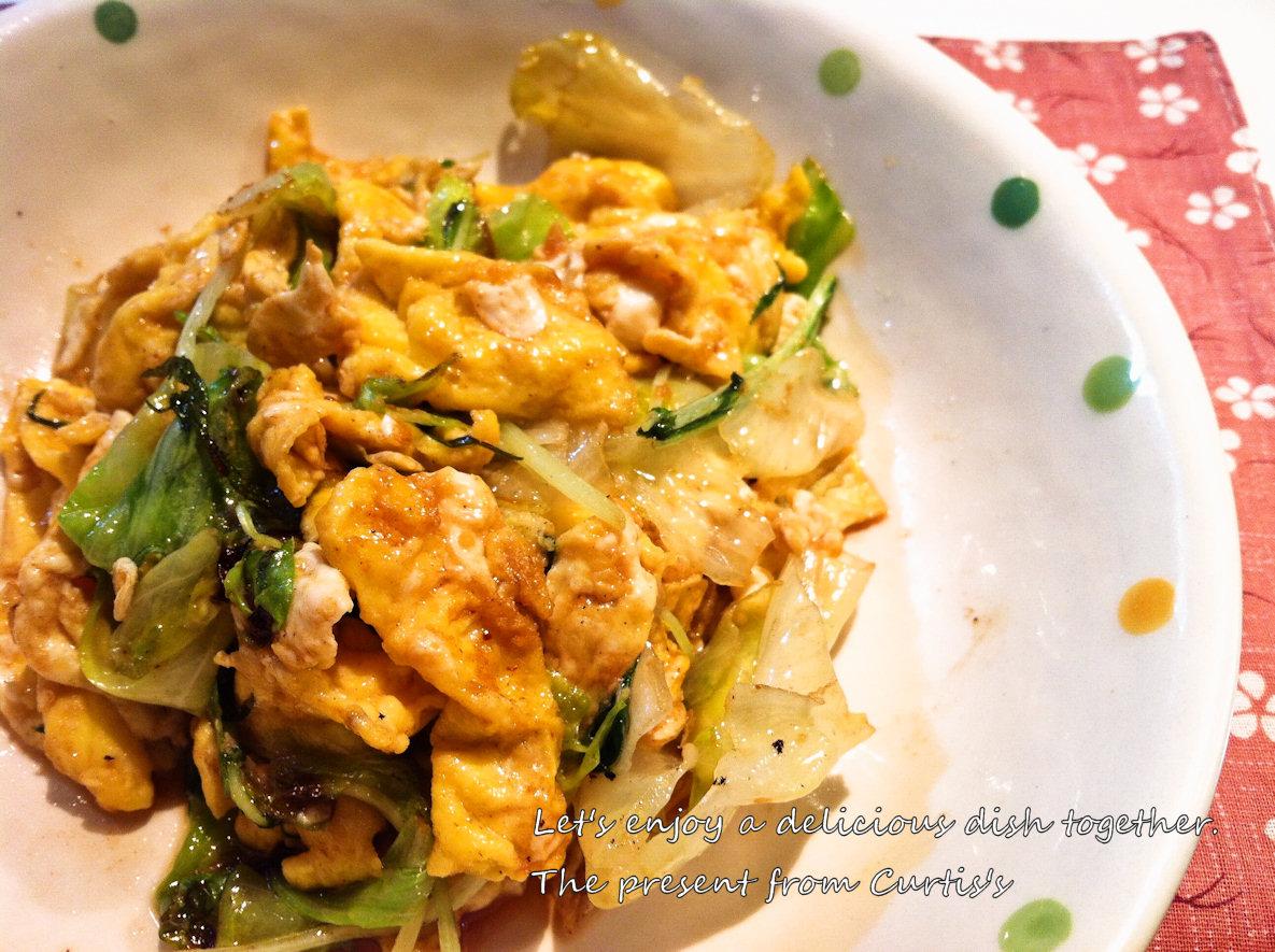 レタスと卵と水菜のオイスター炒め