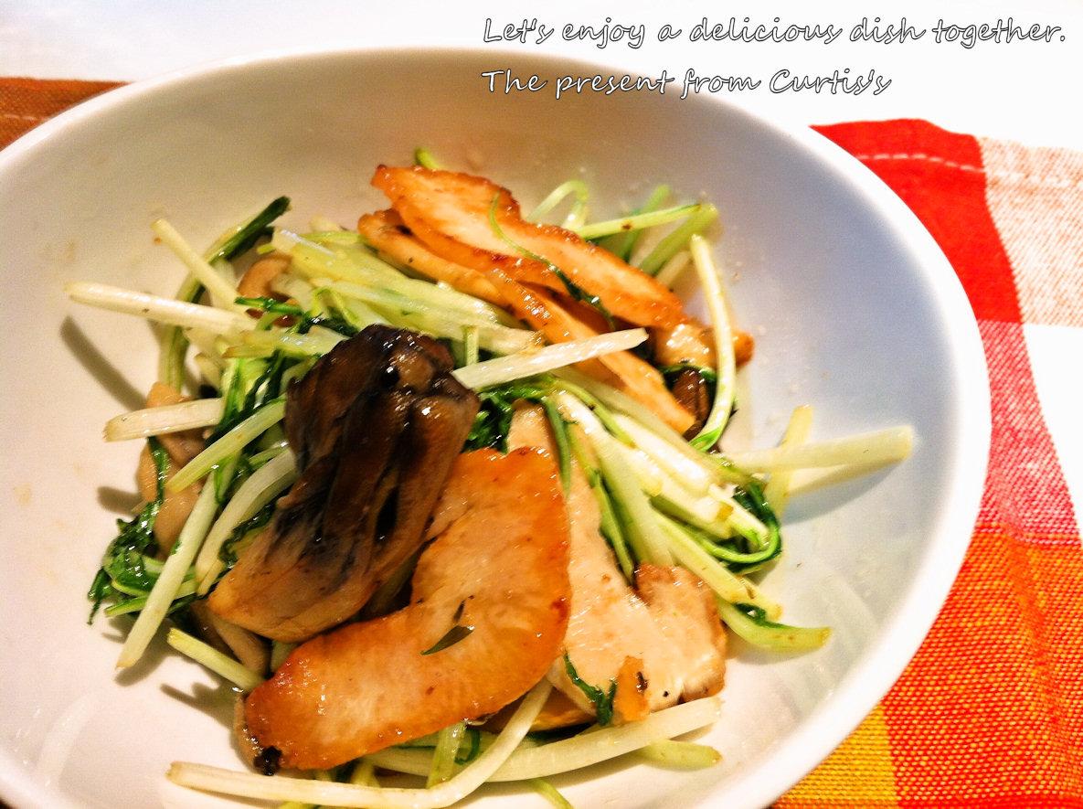 鶏ハムと水菜とまいたけの炒め物