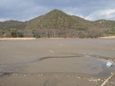 水が抜かれた広沢の池