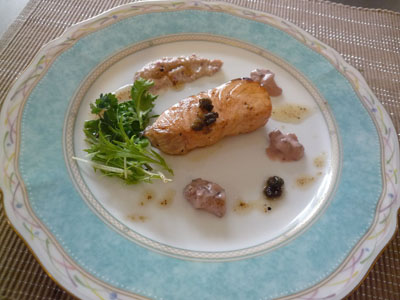 鮭のオリーブ 2種類のソースで