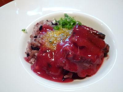 蓮華 うるち米黒米ビーツソース