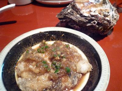 牡蛎のフライ、生姜ソース