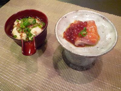 高盃サーモンとお豆腐