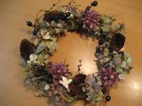 リース(チスパグレープ、ミニトーヒ、秋色アジサイ、ブラックベリー)
