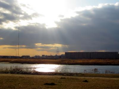 多摩川に午後の日差し