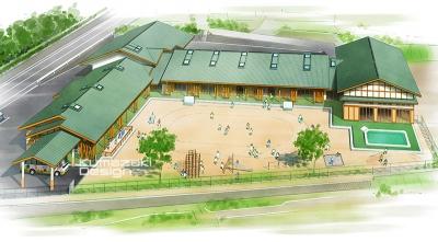 保育園 幼稚園 教育施設 鳥瞰パース 完成予想図 手書きパース 手描きパース フォトショップ着色 photpshop