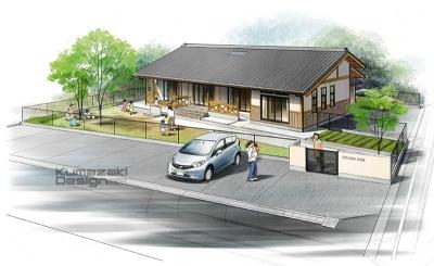 託児所 保育施設 外観パース 鳥瞰パース 完成予想図 手書きパース 手描きパース フォトショップ着色 photpshop
