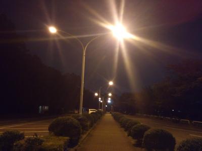 夜の体育館前