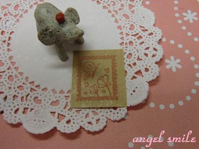 切手風はんこ(お花とちょうちょ)2