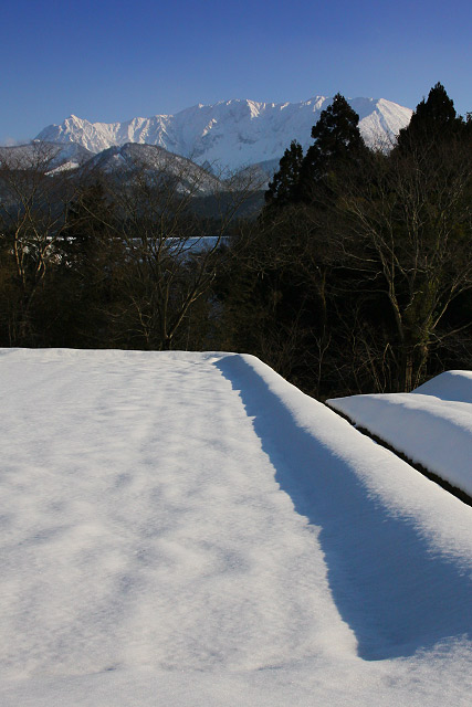 大山の見える風景~雪景色
