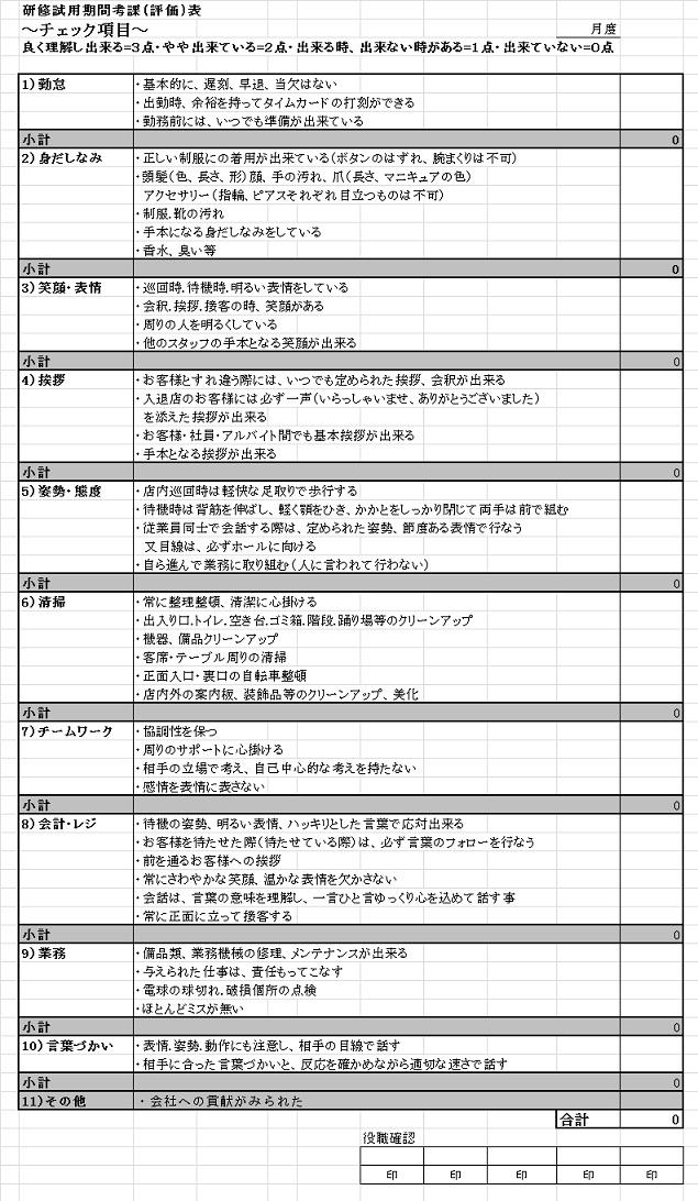 研修試用期間考課(評価)表jpg