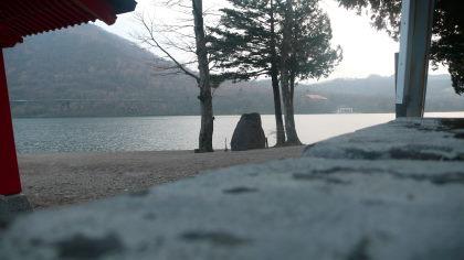 岩から望む大沼湖