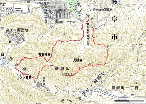 芥見権現山-map