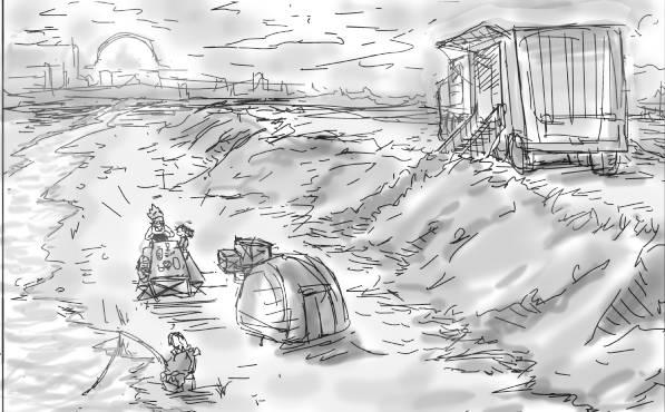 河川敷でキャンプ