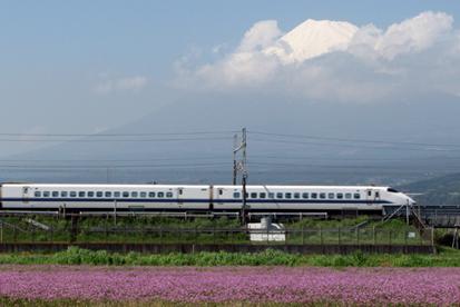 富士山と蓮華、新幹線