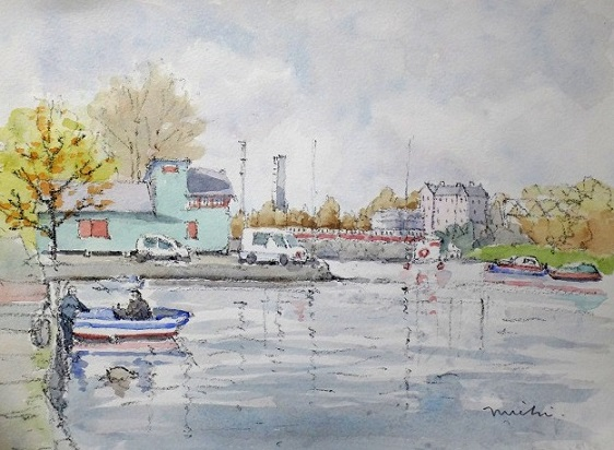 ヘルシンキ川沿いスケッチ