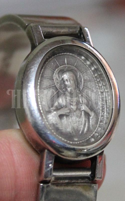 STERLING 925 シルバー 銀 メダイ み心のイエス キリスト カトリック メダイ メダル バングル ウォッチ 時計 ブレスレット