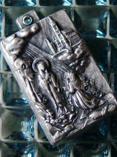 ヴィンテージ聖母マリアルルドの泉ペンダントトップメダイ/アンティーク・キリスト・カトリック・メダル勲章コイン/ルルド大聖堂