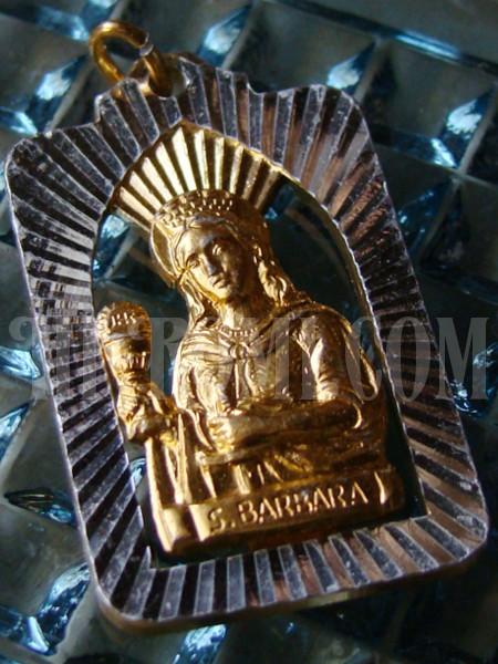 聖バルバラ(バーバラ・ニコメディアのバルバラ)メダイ/アンティークメダル勲章コイン