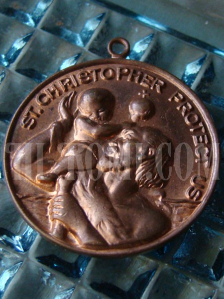 ヴィンテージ聖クリストフォロス(クリストファー)メダイ/アンティーク銅製メダル勲章コイン