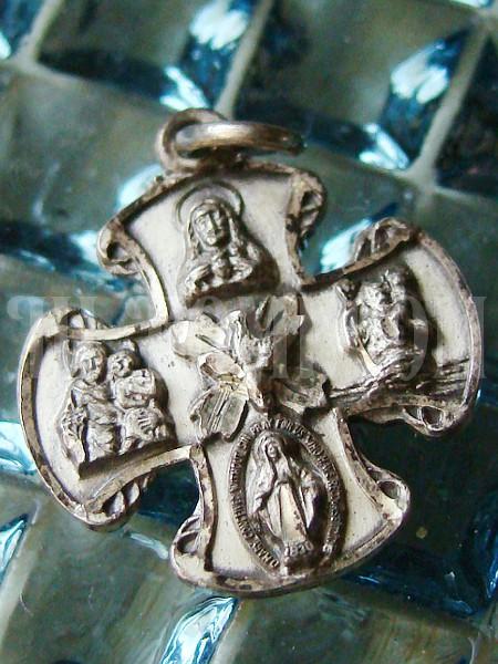 STERLING シルバー ヴィンテージカンタベリー4ウェイクロス十字架マリアキリスト/アンティークメダル勲章コイン