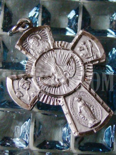 STERLING シルバー ヴィンテージケルト4ウェイクロス十字架マリアキリスト/アンティークメダル勲章コイン