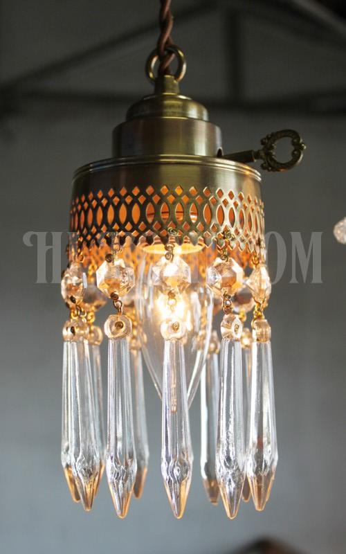真鍮レース鍵スイッチ付きアロープリズム1灯ミニシャンデリアペンダントランプ/アンティークライト照明