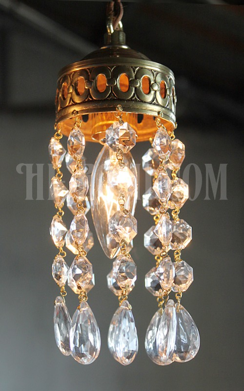 オクタゴンプリズム&ミニティアドロッププリズム真鍮カップの1灯ミニシャンデリアペンダントランプ/アンティーク照明ライト