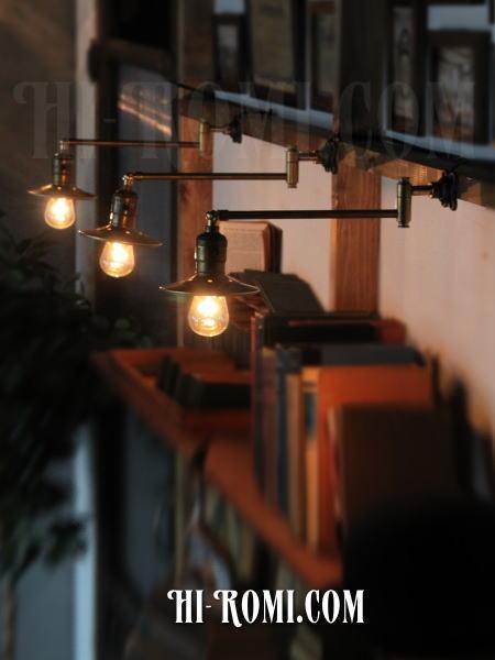 ヴィンテージ工業系角度調整&スウィングアーム付き真鍮ライトC/アンティーク照明