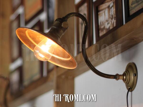ヴィンテージ真鍮シェード壁掛ライトB/アンティーク工業系照明ブラケット