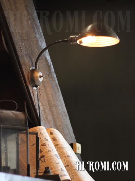 USAヴィンテージインダストリアルグースネック壁掛ライト/アンティーク工業系照明/WOL-13-3