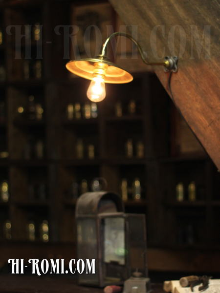 USAヴィンテージ真鍮シェード工業系壁掛ライト/アンティーク照明ブラケット/WOL-13-5