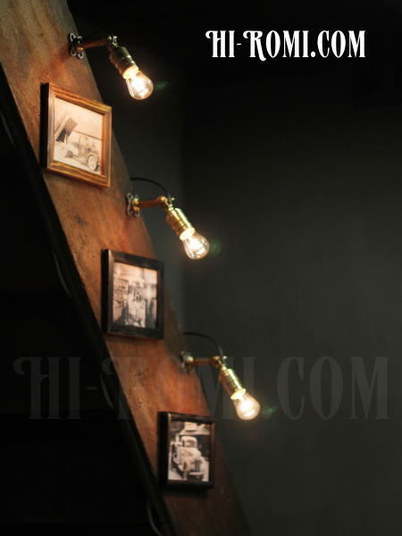 USAヴィンテージ工業系角度調整付壁掛ライトA/アンティークアトリエ照明/WOL-13-6