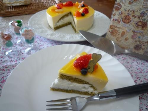 抹茶でババロアケーキa