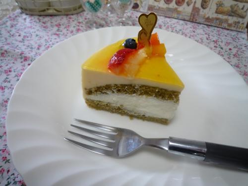 抹茶でババロアケーキd