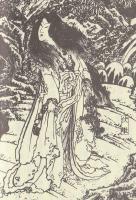 「南総里見八犬伝」の挿絵に描かれる伏姫