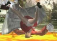 服部半蔵の「モズ落とし」(蜘蛛足」派生技)ではパンモロ状態で地面に激突します