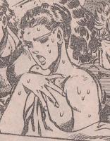 憑依したエシディシに傷つけられるスージー・Qの悲惨な姿を直視できず、顔をそむけるリサリサ