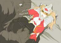 恐竜戦車に轢かれながらも必死に抵抗するウルトラレディ・セレナ