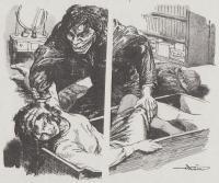 人間豹に襲われ、木箱に押し込まれる美人の探偵助手(「人間豹」より)