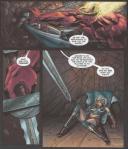 デーモンの攻撃で壁に叩きつけられ、強烈な一撃にダウン