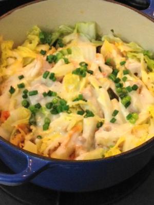 白菜の豚キムチチーズ鍋